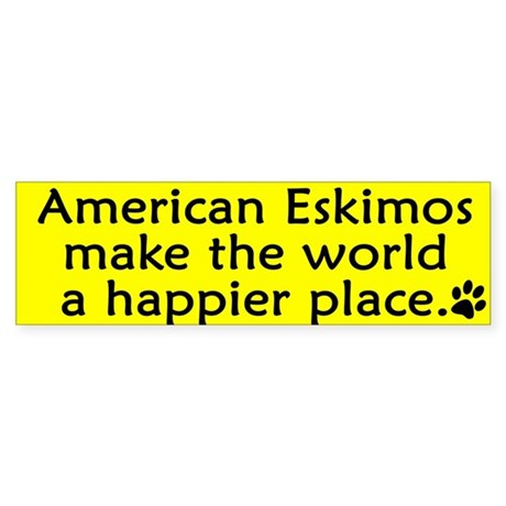 Happy Place American Eskimo Bumper Sticker