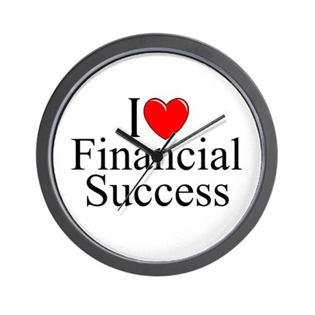 """I Love (Heart) Financial Success"" Wall Clock"