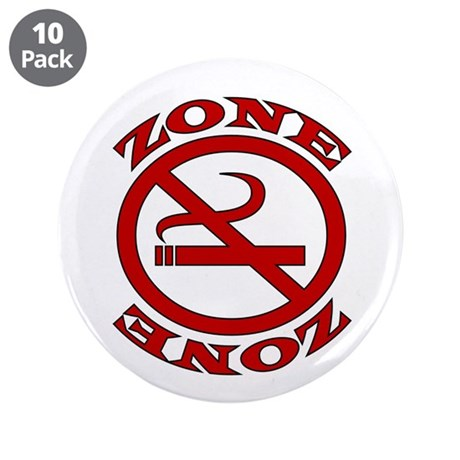 """Red No Smoking Zone 3.5"""" Button (10 pack)"""
