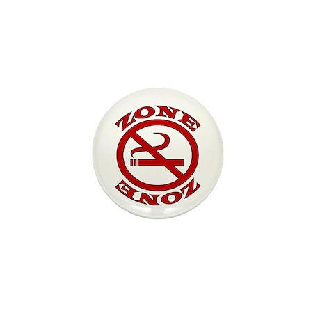 Red No Smoking Zone Mini Button