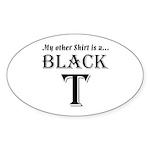 Black T Oval Sticker