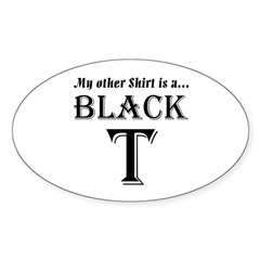 Black T Oval Decal