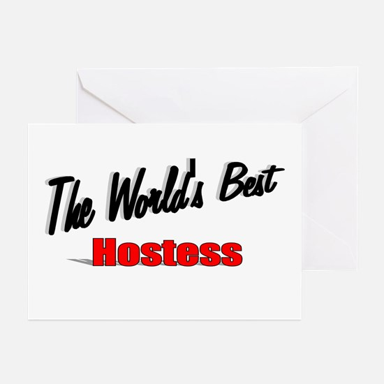 """""""The World's Best Hostess"""" Greeting Cards (Pk of 2"""