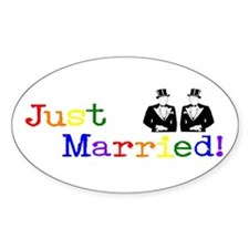 Just Married-Male Oval Decal