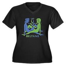Beltane Knot Women's +Size V-Neck Dark T-Shirt
