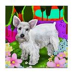 SCHNAUZER DOG LAKE GARDEN Tile Coaster