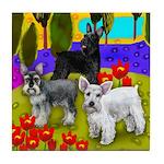SCHNAUZER DOGS LAKE POPPIES Tile Coaster