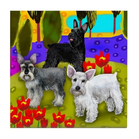 SCHNAUZER DOGS LAKE POPPIES Tile Coaster