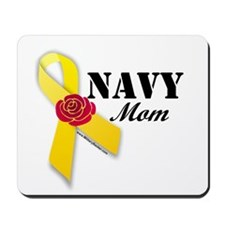 Navy Mom (Ribbon Rose) Mousepad
