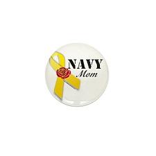 Navy Mom (Ribbon Rose) Mini Button (10 pack)