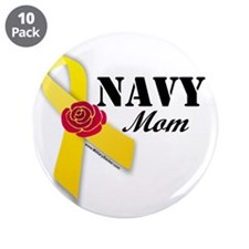 "Navy Mom (Ribbon Rose) 3.5"" Button (10 pack)"