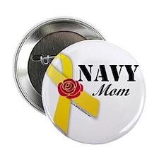 "Navy Mom (Ribbon Rose) 2.25"" Button"