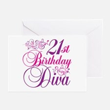 21st Birthday Diva Greeting Cards (Pk of 20)
