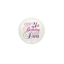 21st Birthday Diva Mini Button (10 pack)