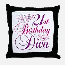 21st Birthday Diva Throw Pillow