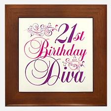 21st Birthday Diva Framed Tile