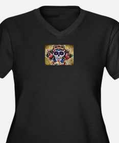 Day of the dead Mexican skull Women's Plus Size V-