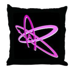ATHEIST SYMBOL PINK DARK Throw Pillow