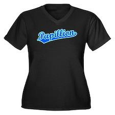 Retro Papillion (Blue) Women's Plus Size V-Neck Da