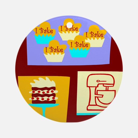 I Bake Collage Ornament (Round)