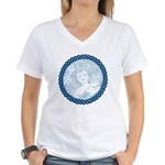 Celtic Mother Moon Design Women's V-Neck T-Shirt
