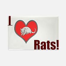 Cute I love rats Rectangle Magnet