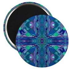 """Blue Stained Glass Cross 2.25"""" Magnet (10 pa"""