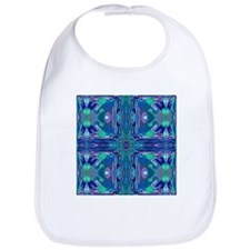Blue Stained Glass Cross Baby Bib