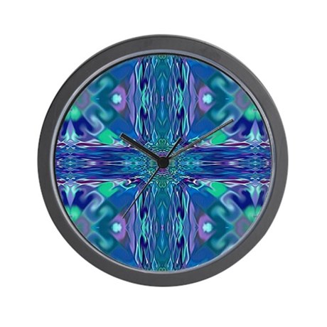 Blue Stained Glass Cross Wall Clock