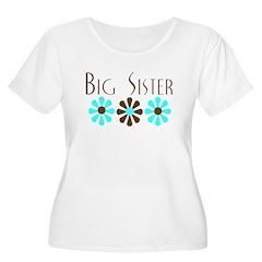 Big Sister - Blue/Brown Flowe T-Shirt
