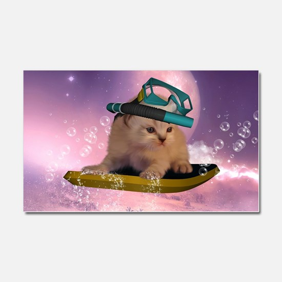 Cute surfing kitten in the night Car Magnet 20 x 1