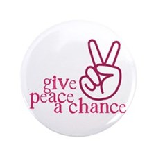 """Give Peace a Chance - Pink Hand Sign 3.5"""" Button ("""