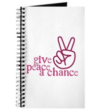Give Peace a Chance - Pink Hand Sign Journal