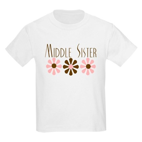 Middle Sister - Pink/Brown Fl Kids Light T-Shirt