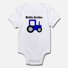Middle Brother - Blue Tractor Infant Bodysuit