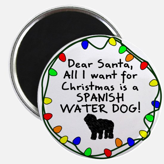 Dear Santa Spanish Water Dog Christmas Magnet