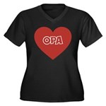 Love Opa Women's Plus Size V-Neck Dark T-Shirt