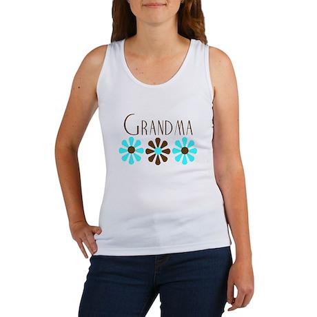 Grandma - Blue/Brown Flowers Women's Tank Top