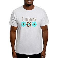 Grandma - Blue/Brown Flowers T-Shirt