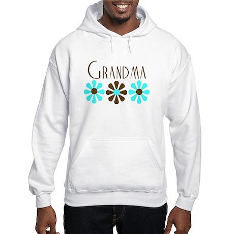 Grandma - Blue/Brown Flowers Hooded Sweatshirt