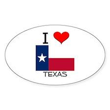 I Love Texas Oval Decal