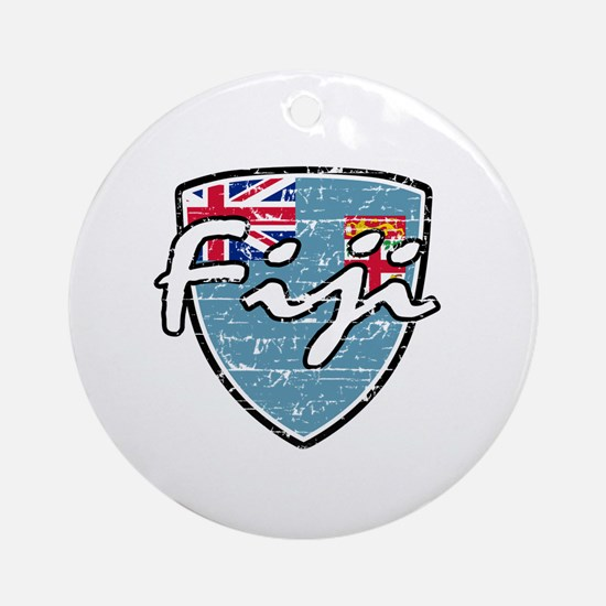 Fiji distressed flag Ornament (Round)