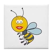 Bumble Bee Smiley Face Tile Coaster