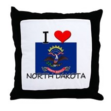 I Love North Dakota Throw Pillow