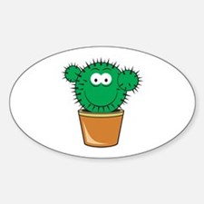 Cute Cactus Smiley Face Oval Decal