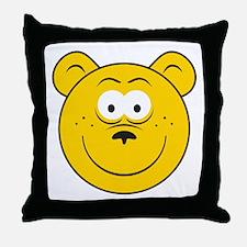Bear Smiley Face Throw Pillow