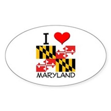 I Love Maryland Oval Decal