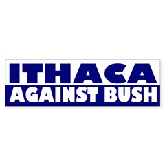 Ithaca Against Bush (bumper sticker)