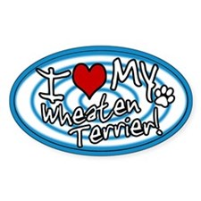 Hypno I Love My Wheaten Terrier Sticker (Blue)