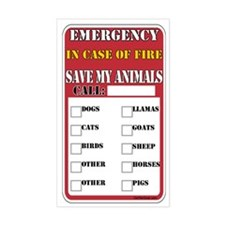 Emergency Fire Save My Pets Rectangle Decal